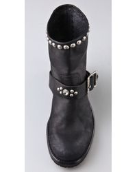 HTC Hollywood Trading Company Black Motor Booties with Stud & Stone Strap
