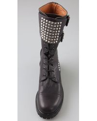HTC Hollywood Trading Company Black Parachute Stud Combat Boots