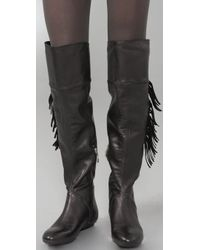 House of Harlow 1960 Black Tessa Fringed Over The Knee Boot