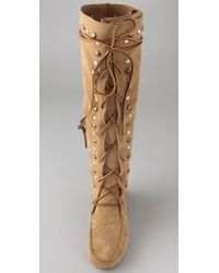 House of Harlow 1960 - Brown Suede Lace-up Mocassin Boots - Lyst