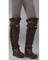 HUNTER | Brown Over-the-knee Shearling-lined Boots | Lyst