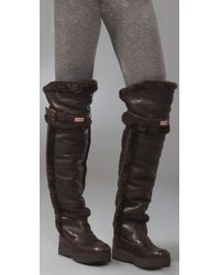 HUNTER - Brown Over-the-knee Shearling-lined Boots - Lyst