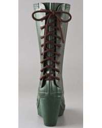 HUNTER Green Verbier Wedge Boots with Lace Up Detail