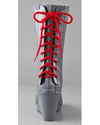 HUNTER Gray Verbier - Slate Rubber Lace-up Rain Boot