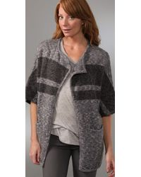James Perse | Gray Striped Blanket Cardigan | Lyst