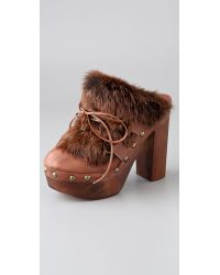 Jeffrey Campbell - Brown Dana Platform Clogs with Rabbit Fur - Lyst