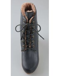 Jeffrey Campbell   Blue Erikson Shearling Clog Booties   Lyst