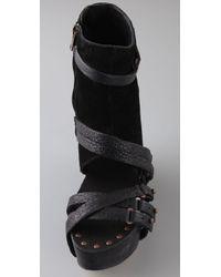 Joe's Jeans Black Bijou Suede Wedge Booties