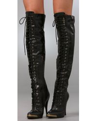 Joie Black Top-of-the-world Lace-up Over-the-knee Boots