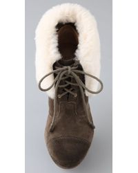 L.A.M.B. - Brown Pier Suede Booties with Shearling Cuff - Lyst