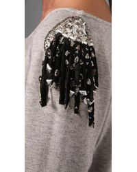 Leyendecker - Gray Pullover Top with Embellished Shoulders - Lyst