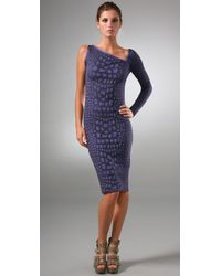 M Missoni | Purple Crocodile Intarsia One Shoulder Dress | Lyst