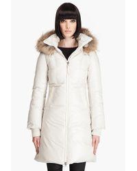 Mackage Off White Down Filled Raccoon Fur Trim Aurelia Hooded Coat