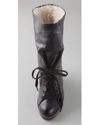 Marc By Marc Jacobs Black Crepe Wedge Boots