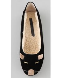 Marc By Marc Jacobs Black Mouse Slippers with Sherpa Lining