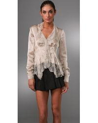 Philosophy di Alberta Ferretti | White Satin Jacket with Lace Collar | Lyst