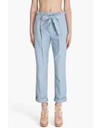 Rag & Bone | Blue Cropped Paper Bag Pants | Lyst