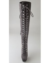 Rock & Republic Gray Blaine Suede Over The Knee Boots
