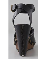 See By Chloé - Black Closed Toe Wedge Sandals - Lyst