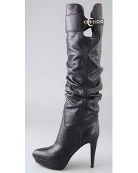 Sergio Rossi Black Veronica Platform Slouch Boots
