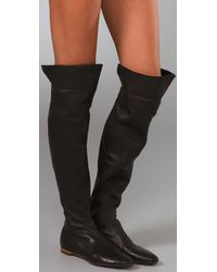 Sigerson Morrison Black Spat Flat Over The Knee Boots