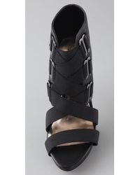 Steven by Steve Madden Black Denah Caged Sandals