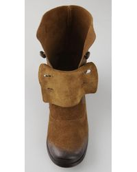 Steven by Steve Madden - Brown Adeson Flat Suede Boots with Buttons - Lyst