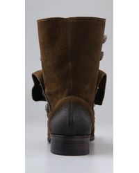 Steven by Steve Madden Brown Adeson Flat Suede Boots with Buttons