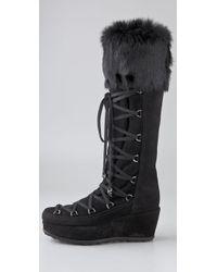 Stuart Weitzman Black Troll Suede Moon Boots with Fur