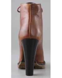 Tapeet - Brown Lace Up Lug Booties - Lyst