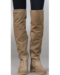 Tapeet Natural Flat Suede Over The Knee Boots with Faux Fur Lining