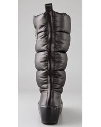 Tory Burch Black Puffer Boots with Logo