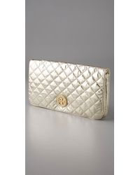 Tory Burch Reva Metallic Quilted Nylon Clutch