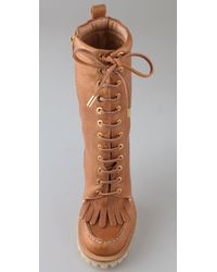 Tory Burch Brown Trigg Lace Up Hiking Boots