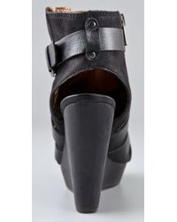 Twelfth Street Cynthia Vincent Black Jiselle Wedge W/ Strapping Detail