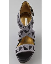Twelfth Street Cynthia Vincent Black Jorah Embroidered Wedge Sandals
