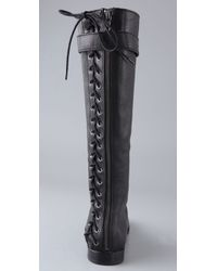 Twelfth Street Cynthia Vincent Black Tanner Corset Back Boots