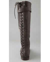 Twelfth Street Cynthia Vincent Brown Tanner Corset Back Flat Boot