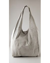 Twelfth Street Cynthia Vincent | Gray Perforated Suede Grocery Bag | Lyst