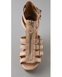 Twelfth Street Cynthia Vincent Natural Jagger Zip Front Wedge Sandals