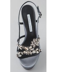 Vera Wang Lavender Gray Susie Platform Sandals with Rhinestones