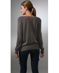 Vince - Gray Crew Neck Henley Sweater - Lyst