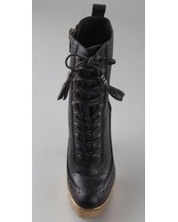 William Rast Black Perforated Lace Up Booties