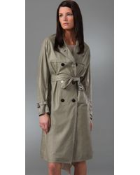 3.1 Phillip Lim - Green Leather Trench Coat with Open Back - Lyst