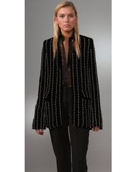 Alexander Wang | Black Collarless Velvet Blazer with Pearl Embroidery | Lyst