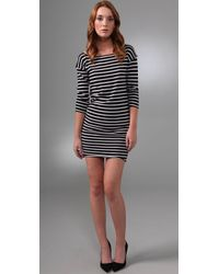 Alice + Olivia | Gray Sabrina Striped Dress | Lyst