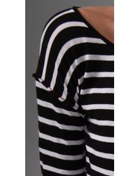 Alice + Olivia - Gray Sabrina Striped Dress - Lyst