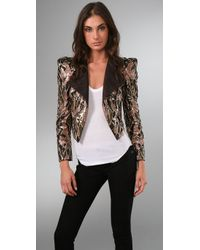 Alice + Olivia | Brown Sequin Jacket | Lyst