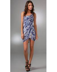 BCBGMAXAZRIA | Blue Print One Shoulder Dress | Lyst