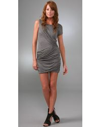 BCBGMAXAZRIA | Gray Draped Dress | Lyst